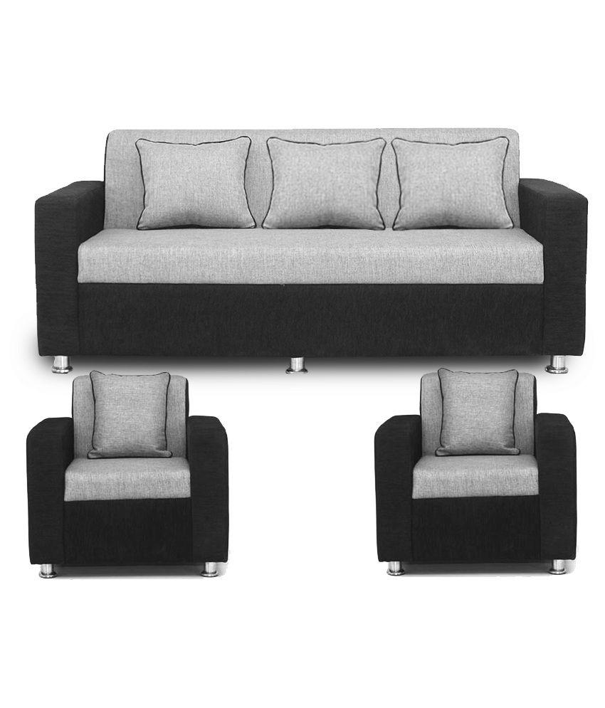 bls tulip black grey 3+1+1 sofa set ... CVVPYUR