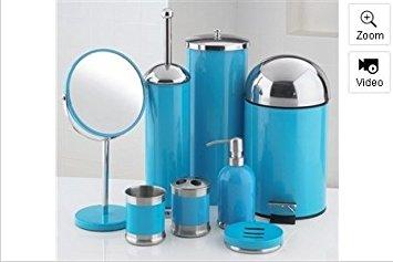 blue bathroom accessories 8-piece bathroom accessories set (blue) ACEXJRA