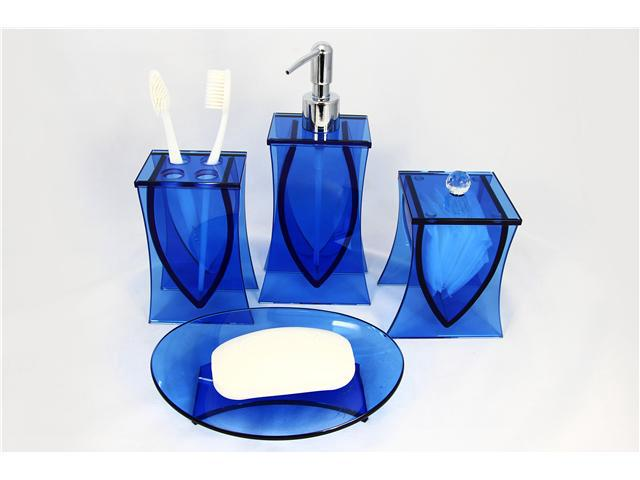 Exceptionnel Blue Bathroom Accessories Liang Thing, Ocean Blue Glass 4 Piece Bath Set /  Bath