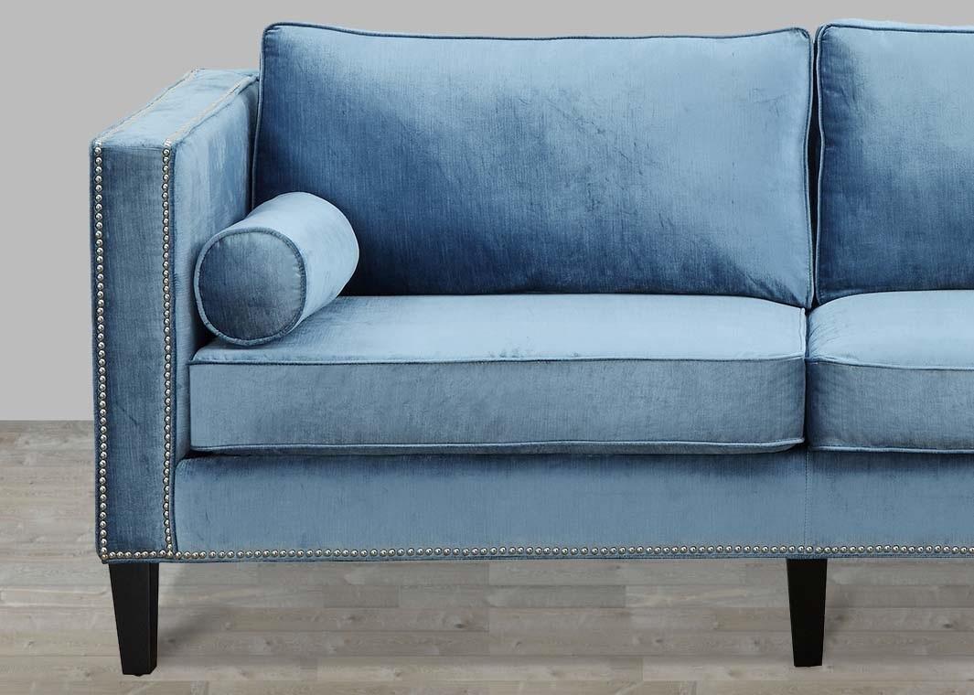 blue velvet sofa with nailheads XFPEXQK