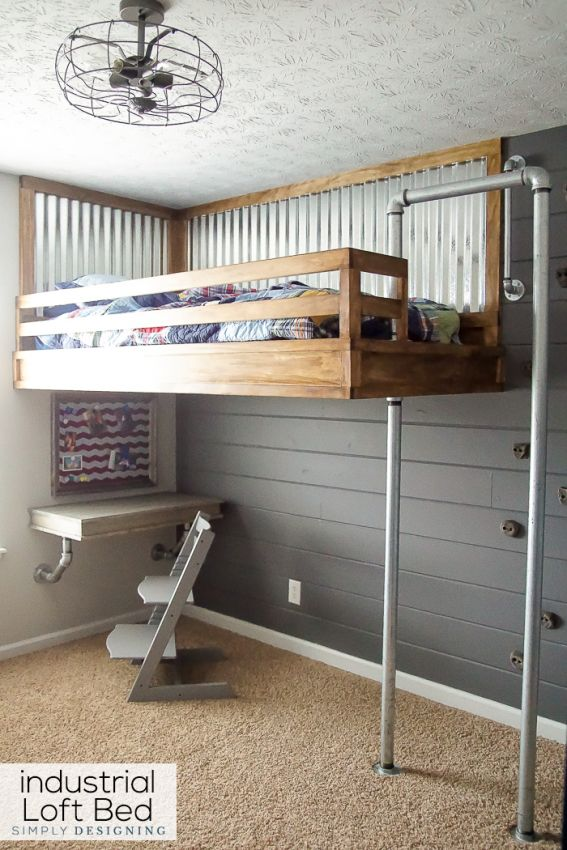 boys beds industrial loft bed with rock climbing wall and firemans pole GTAMZWT
