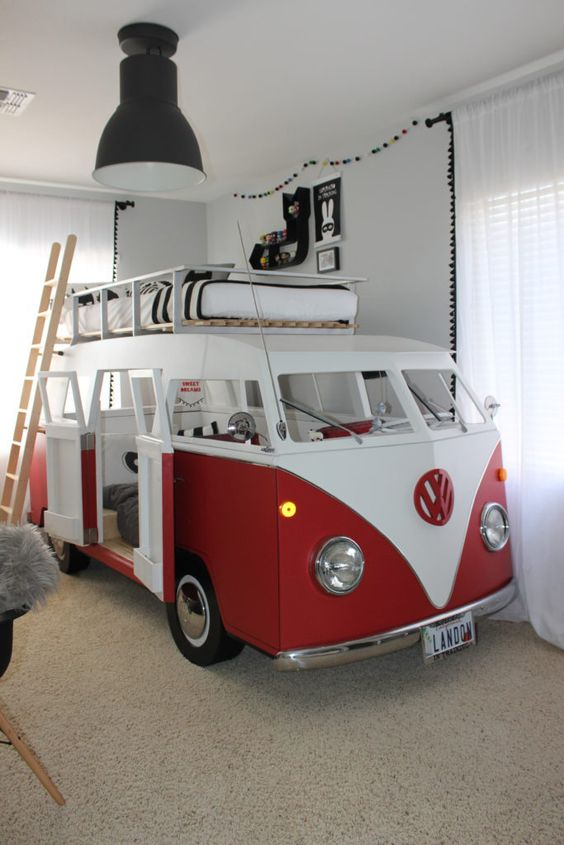 boys beds red vw van bed for two boys, one bed on the roof, the DAYWRCI