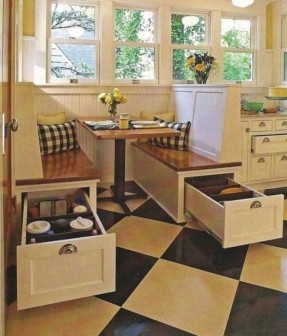 breakfast nook table breakfast nook. love the storage under the bench seats by AMUCHBT