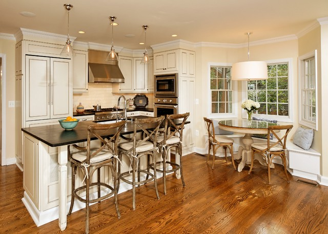 breakfast nook table elegant kitchen photo in dc metro with paneled appliances LNCLJIY