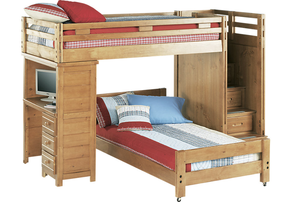 bunk beds creekside taffy twin twin step bunk bed with desk - bunk/loft beds light WXYJGDN