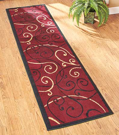 burgundy scroll extra-long decorative runner rugs VLXDVQF