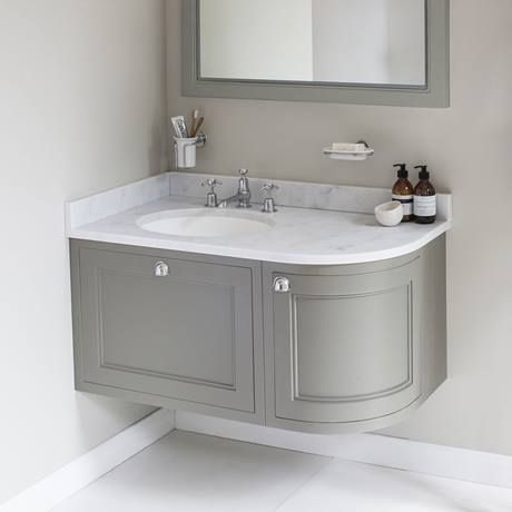 burlington wall hung 100 curved corner vanity unit u0026 minerva worktop with KZGPBTL