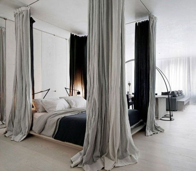 canopy bed curtains 8 stylish studio apartments to inspire your renovation ULGZCCR