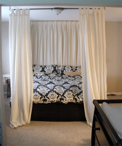 canopy bed curtains diy canopy bed - using curtain rods above bed onto ceiling! like how QIDBCOL