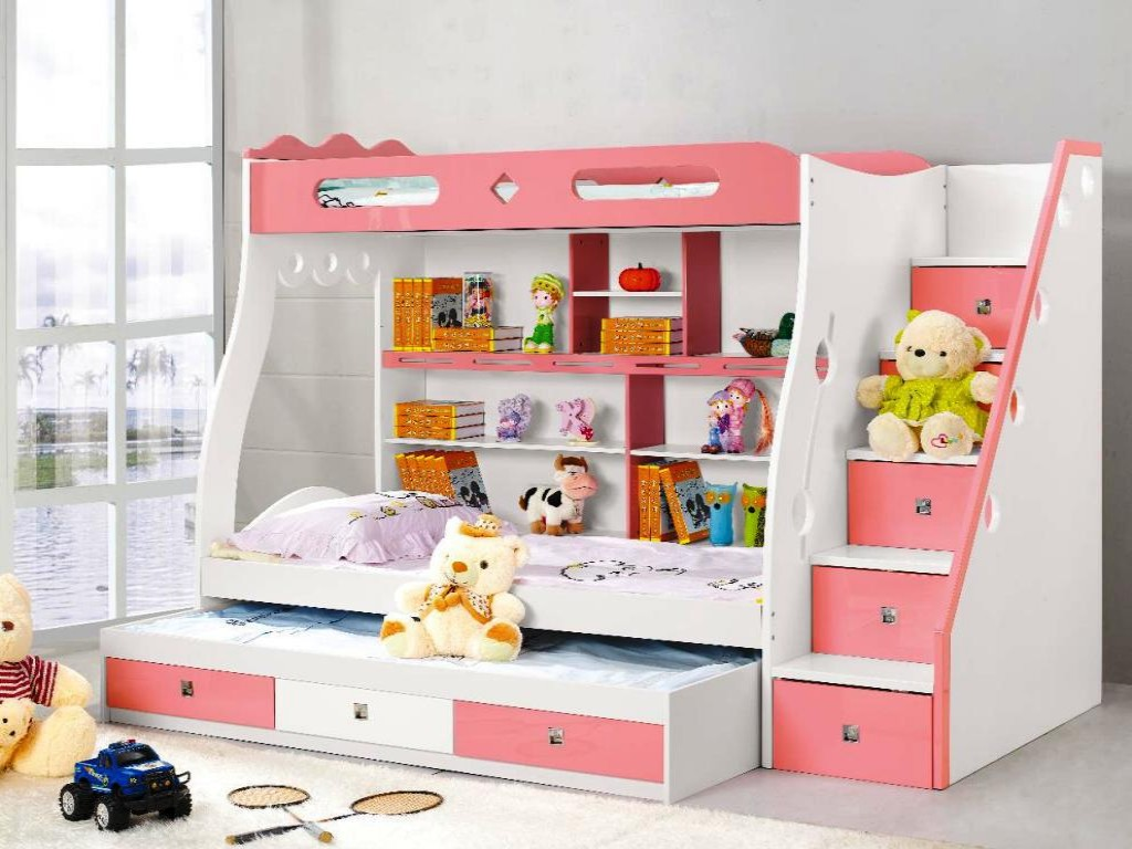 childrens bunk beds with stairs and desk WHMILMS