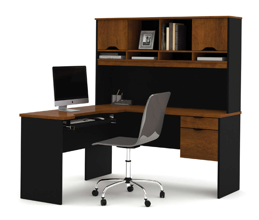 computer furniture innova tuscany brown l-shaped computer desk magnifier MOFLPIL