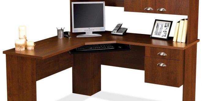 computer furniture tuscany brown l shaped computer desk XOPXFQW