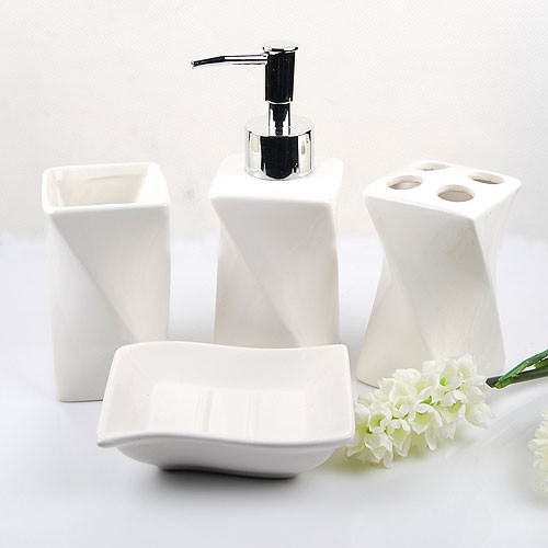 contemporary bathroom accessories elegant white ceramic bathroom accessory 4piece set contemporary-bathroom ILAKDOM