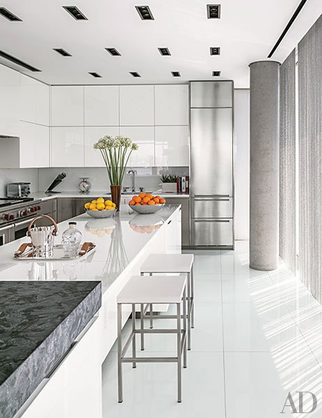 contemporary kitchens a manhattan, kitchen in a sleek building by richard meier has glamorous GANFQTS