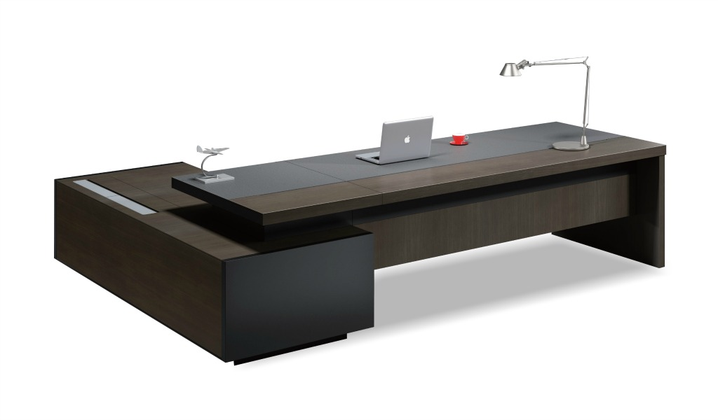 contemporary office table in leather u0026 wood: bossu0027s cabin ONXDKWL
