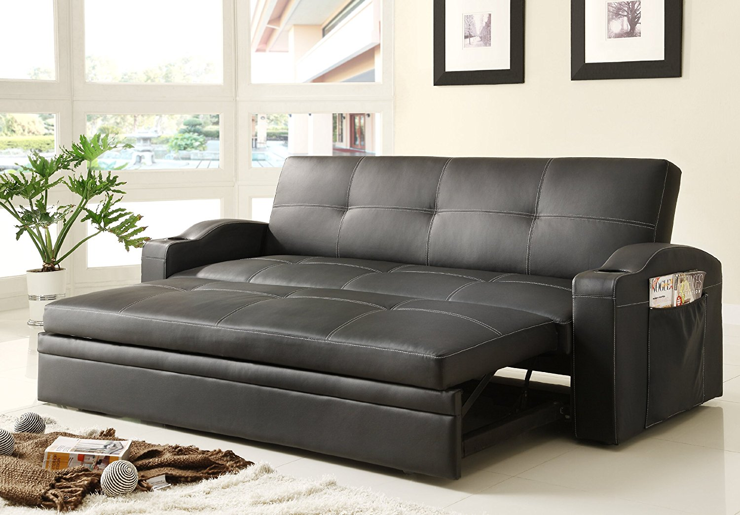 convertible sofa bed amazon.com: homelegance 4803blk convertible/adjustable sofa bed, black  bi-cast vinyl: kitchen u0026 dining QEYEIXC