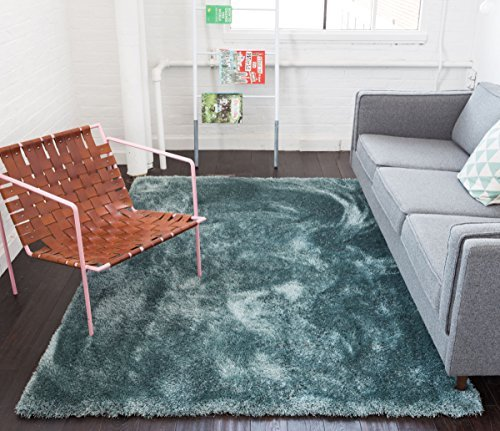 cool rugs shimmer shag ocean blue solid plain modern luster ultra thick soft plush ONFQTHM