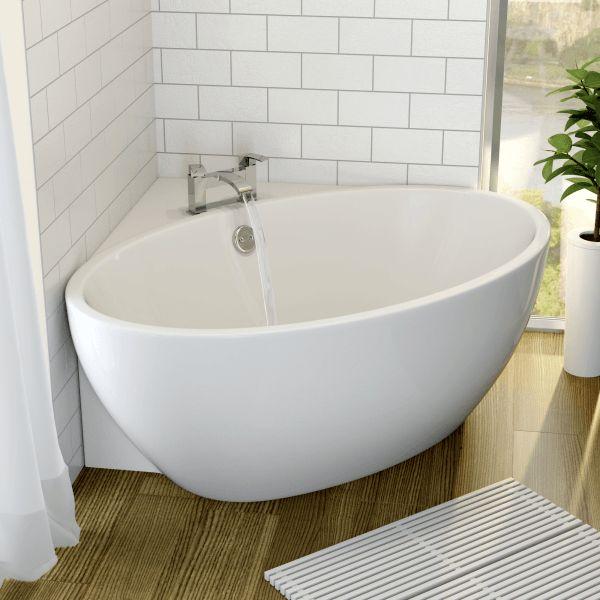 corner baths affine fontaine corner freestanding bath 1270mm x 1270mm with built-in waste XHNSAST