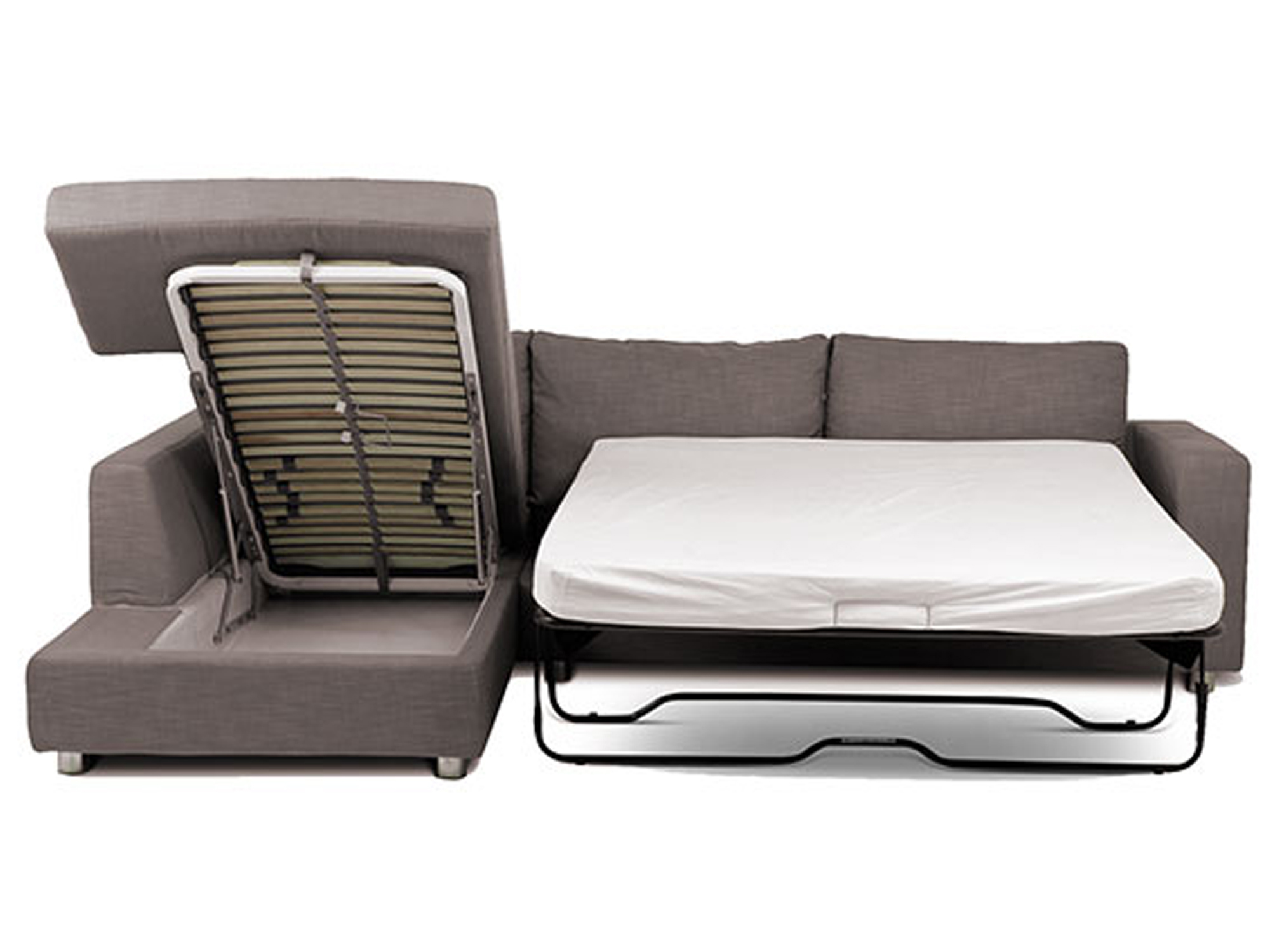 corner sofa bed mondo grey corner storage inner spring mattress sofa bed, storage chaise  open LUCRKII