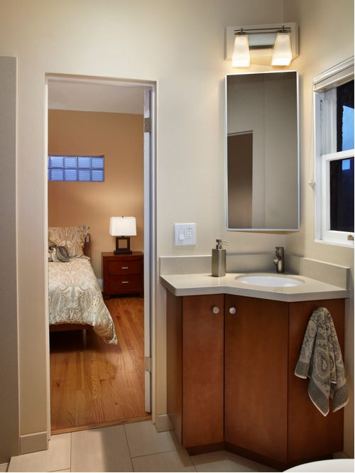 corner vanity contemporary bathroom idea in phoenix with an undermount sink FAJYTTB