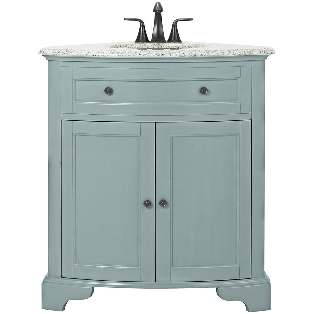corner vanity home decorators collection hamilton 31 in. w corner bath vanity in sea TXJFZCS