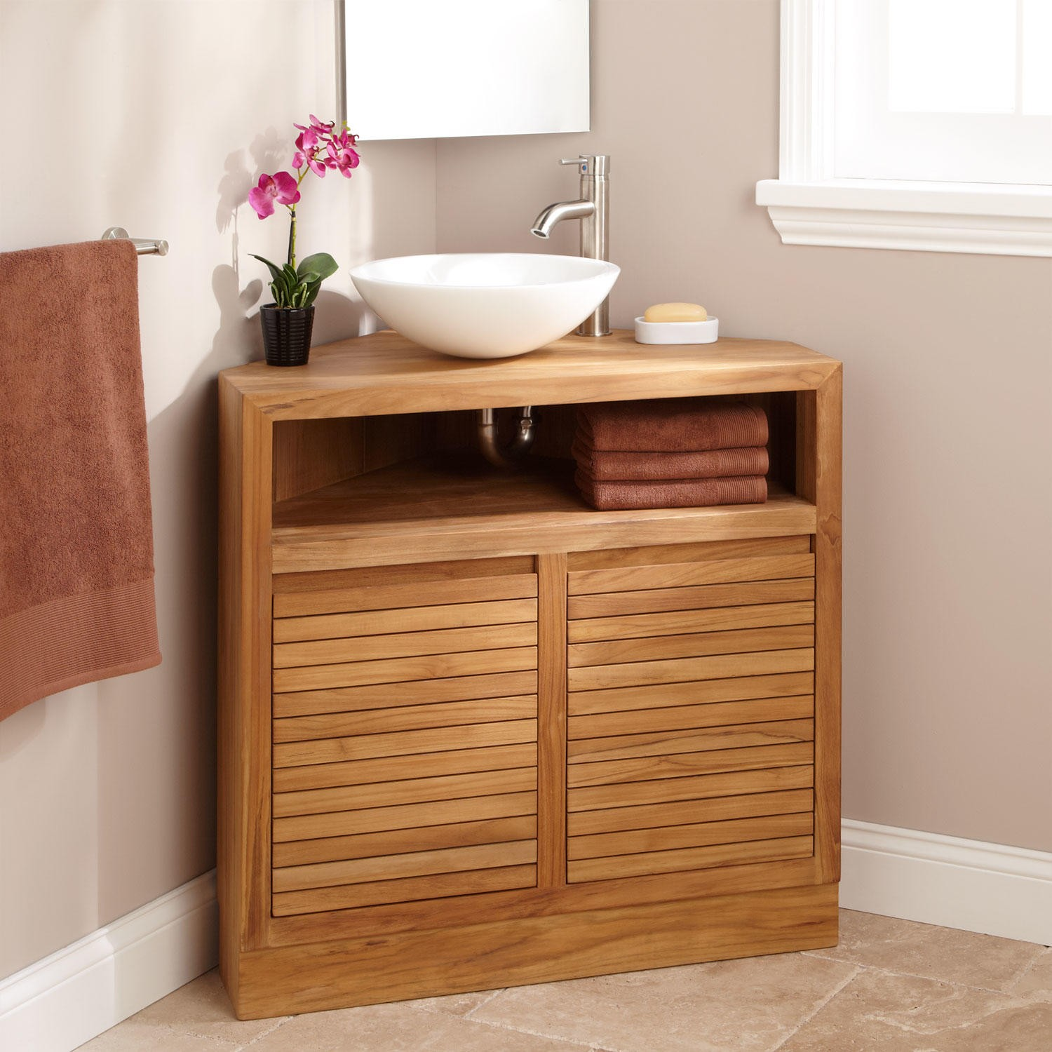 corner vanity ... teak vanity fits perfectly into a corner space. the natural grains of SZKZDUI