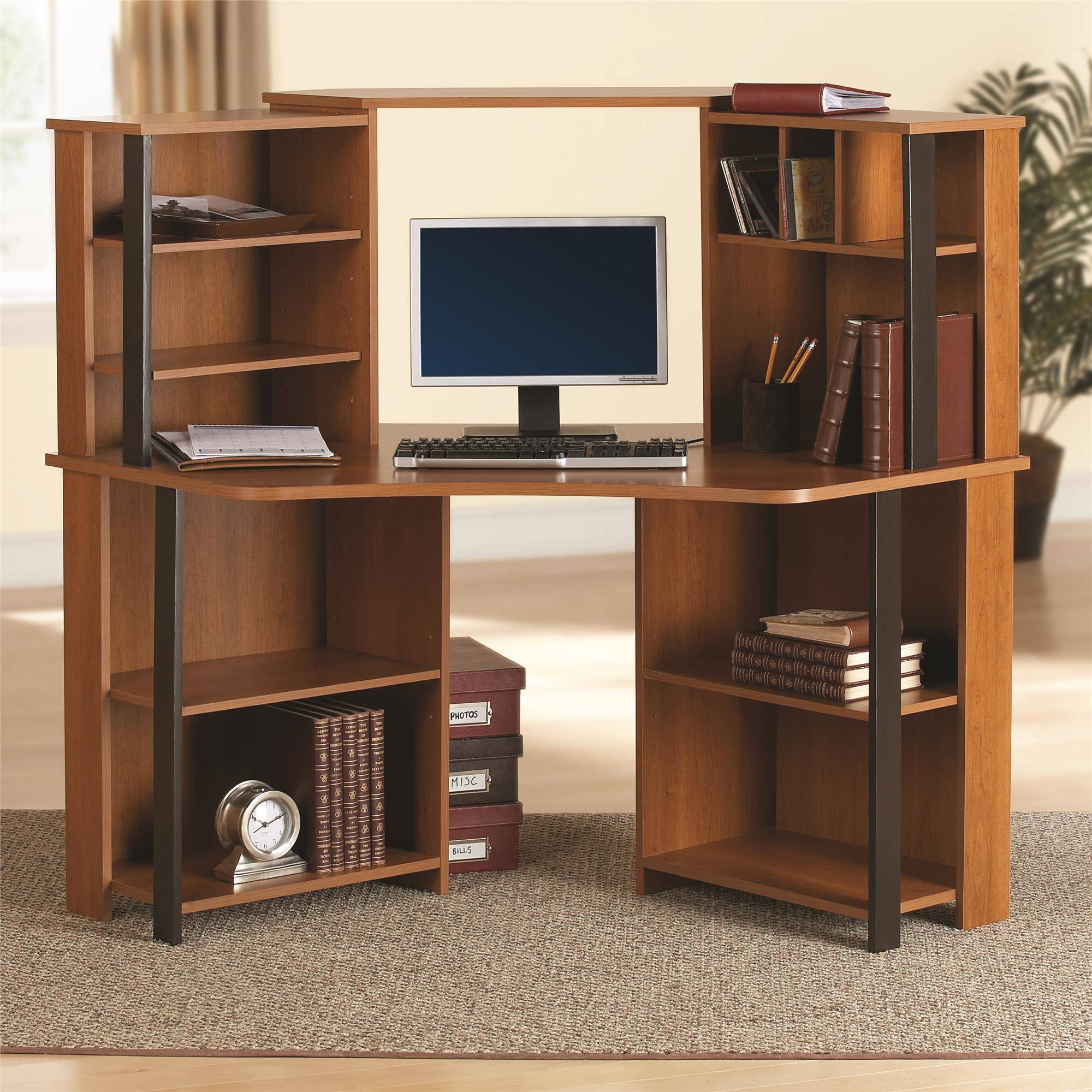 costway corner computer desk laptop writing table wood workstation home  office furniture GLWJCFA