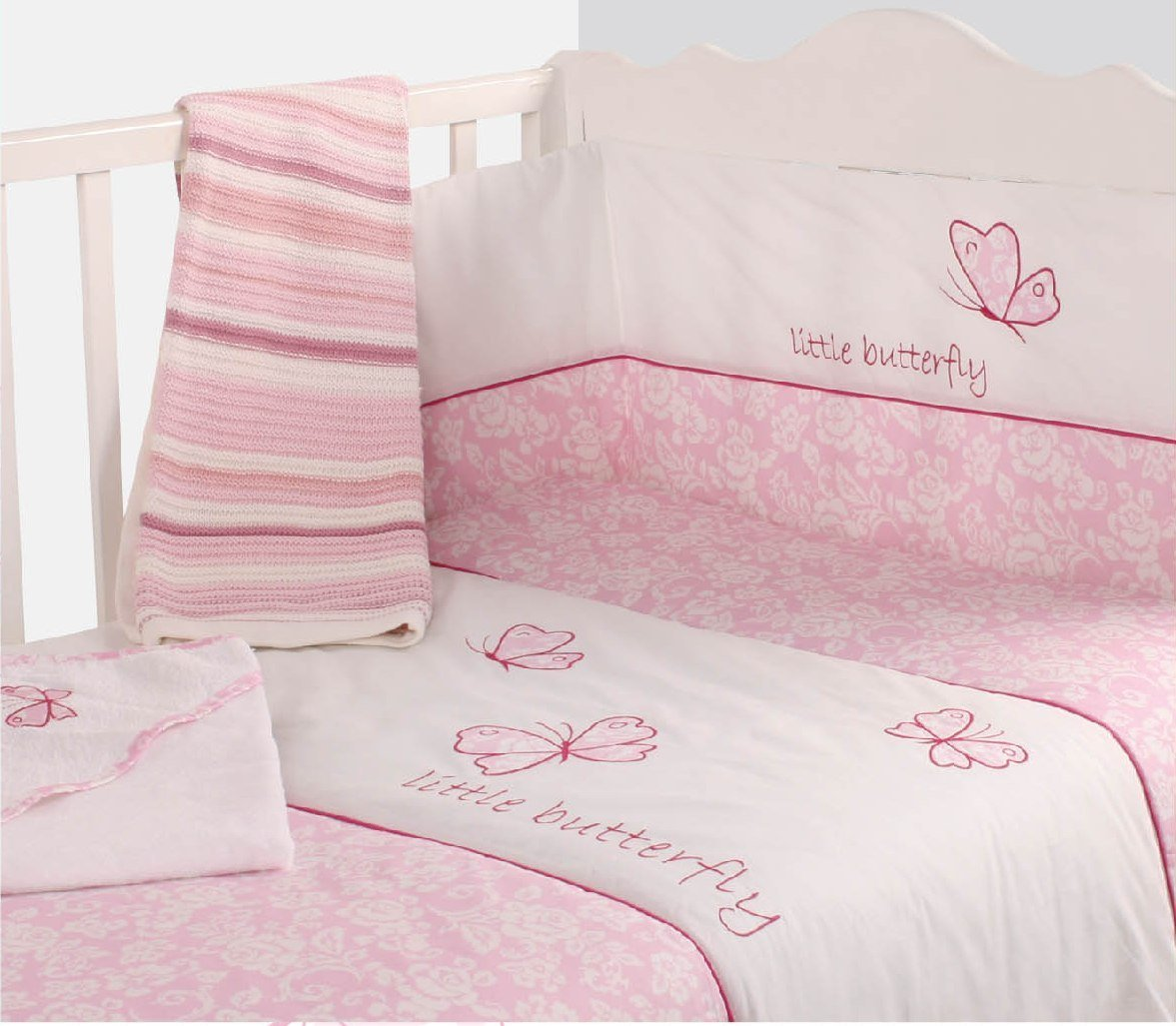 cot bedding sets nursery pink butterfly baby bale bedding set floral print reversible cot  quilt XXNAGOI