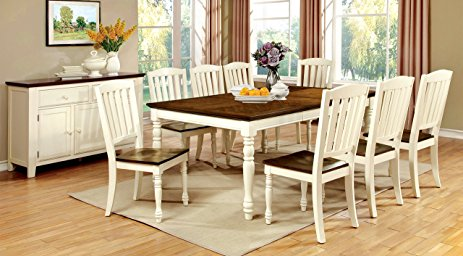cottage style furniture furniture of america pauline 9-piece cottage style dining set, vintage  white u0026 EXQLVFA