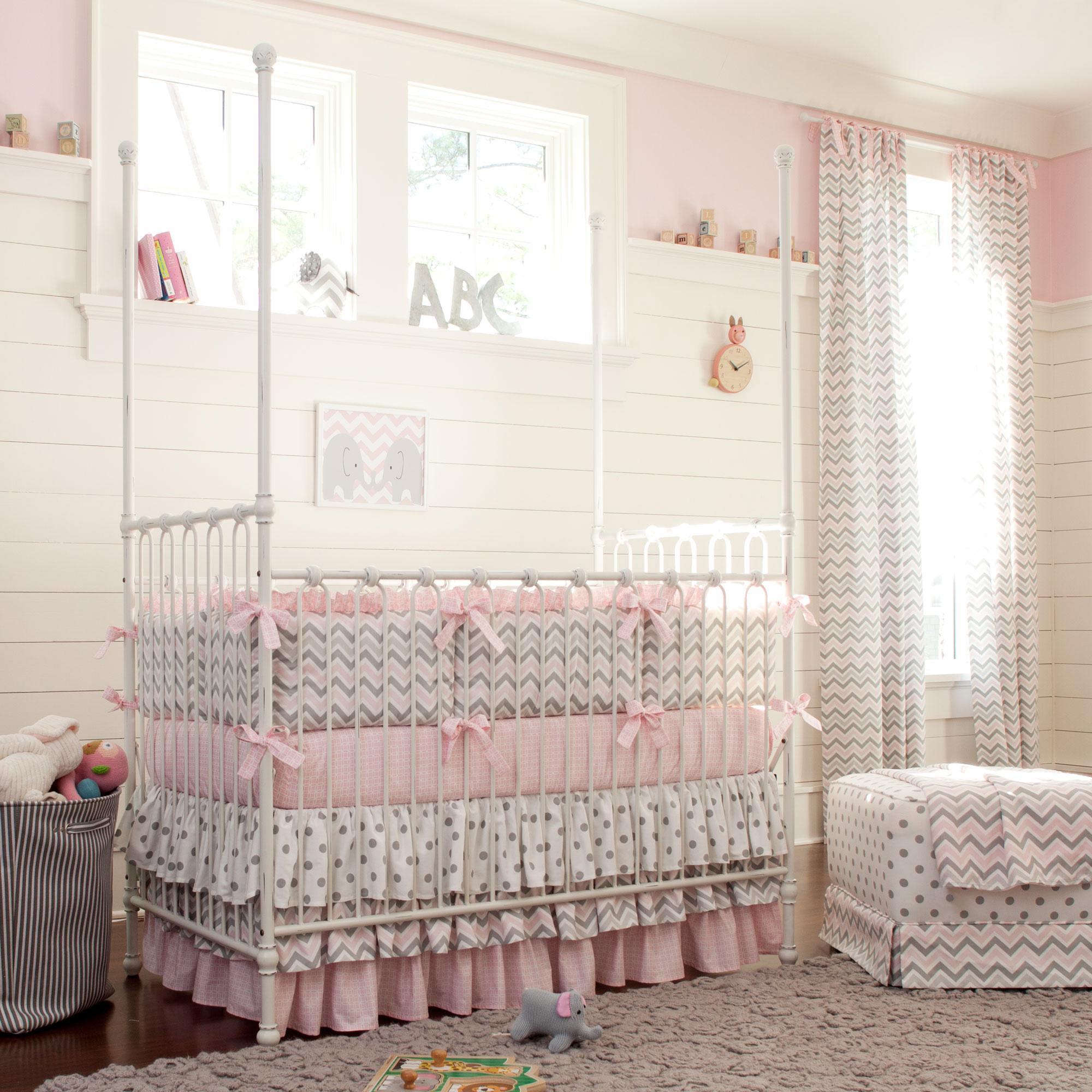 crib bedding for girls pink and gray chevron baby crib bedding TELXAGT