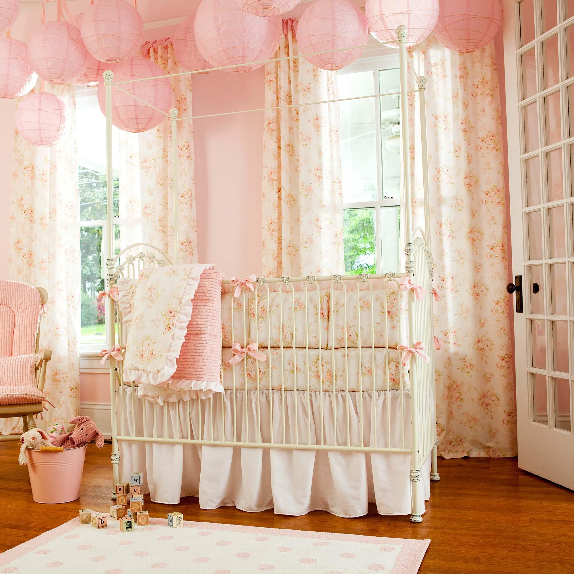 crib bedding for girls shabby chenille 3-piece crib bedding set IONPKER