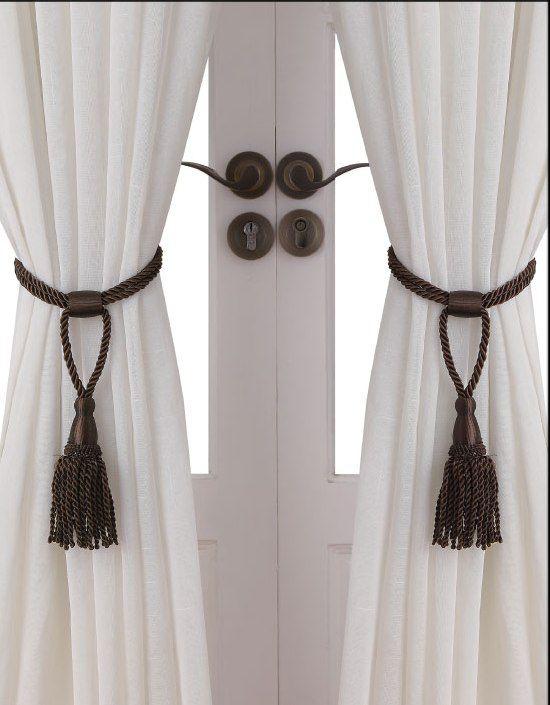 curtain tie backs essential home rope tie backs set of 2 - chocolate OQXFZZV