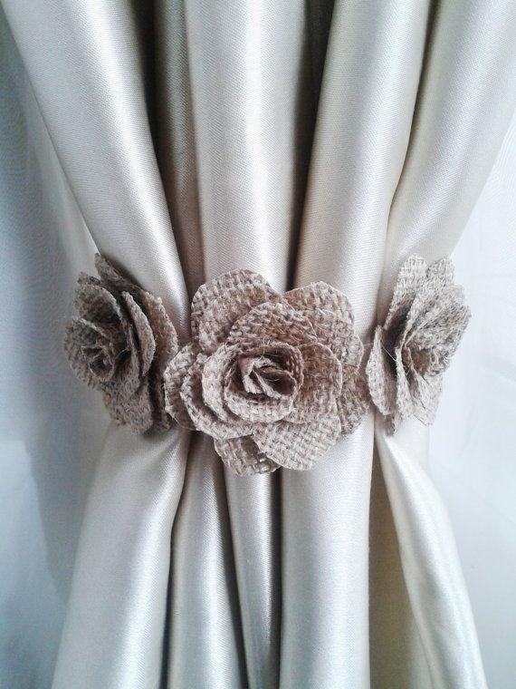 curtain tie flower curtain tie backs,shabby chic curtains, burlap curtain  tie back,baby ONXOCME