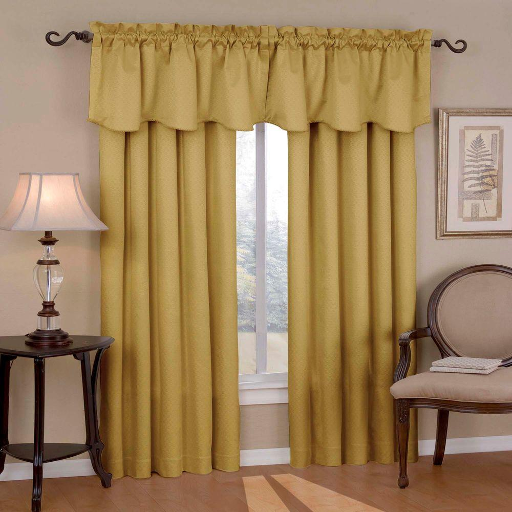 curtains with valance eclipse canova blackout gold polyester curtain valance, 21 in. length SZCUNSP