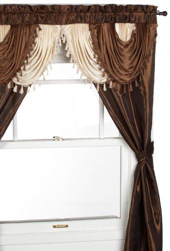 curtains with valance regal home collections amore 54-inch by 84-inch window set with attached  valance, XCYHVCY