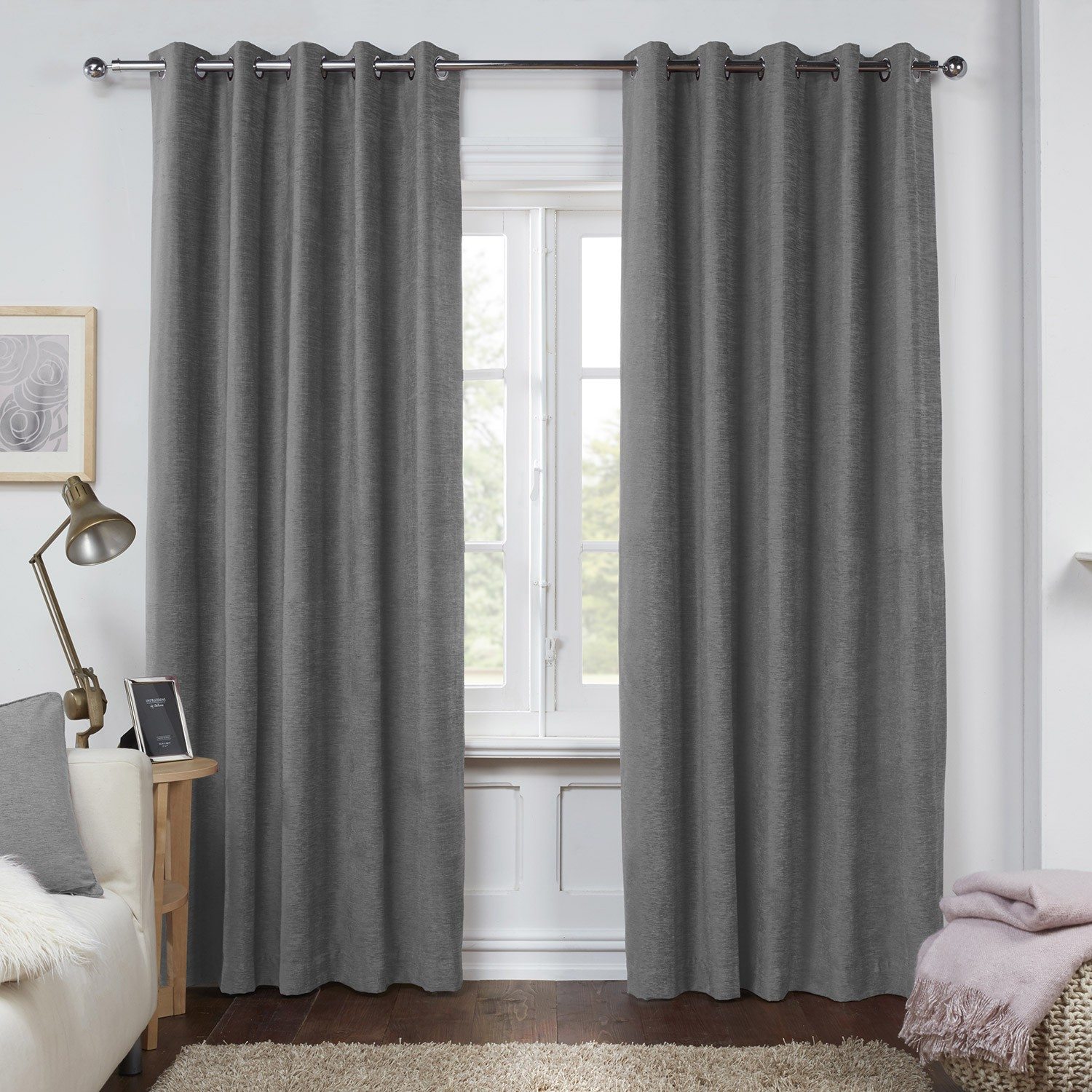 dante charcoal grey luxury soft chenille lined eyelet curtains (pair) HIBZOYO