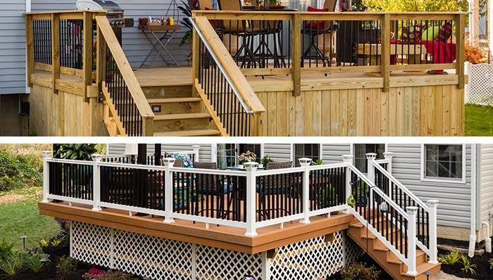 deck designs: wood deck and composite deck. NPRHLJY