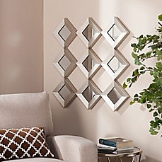 decorative wall mirrors image of southern enterprises 29.5-inch masada mirrored squares wall  sculpture in silver BGSMWUK