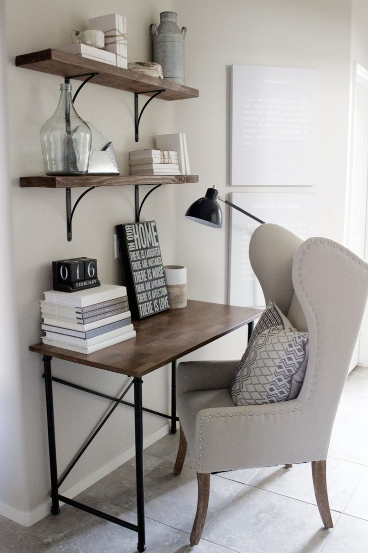 desks for small spaces home decorating ideas - small home office desk in rustic industrial glam KMAGXUX