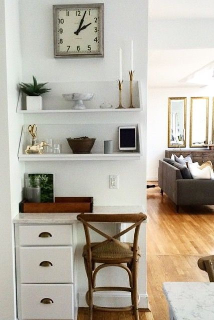 desks for small spaces the chic technique: we love this home office nook! a set of drawers, RGQFDFY