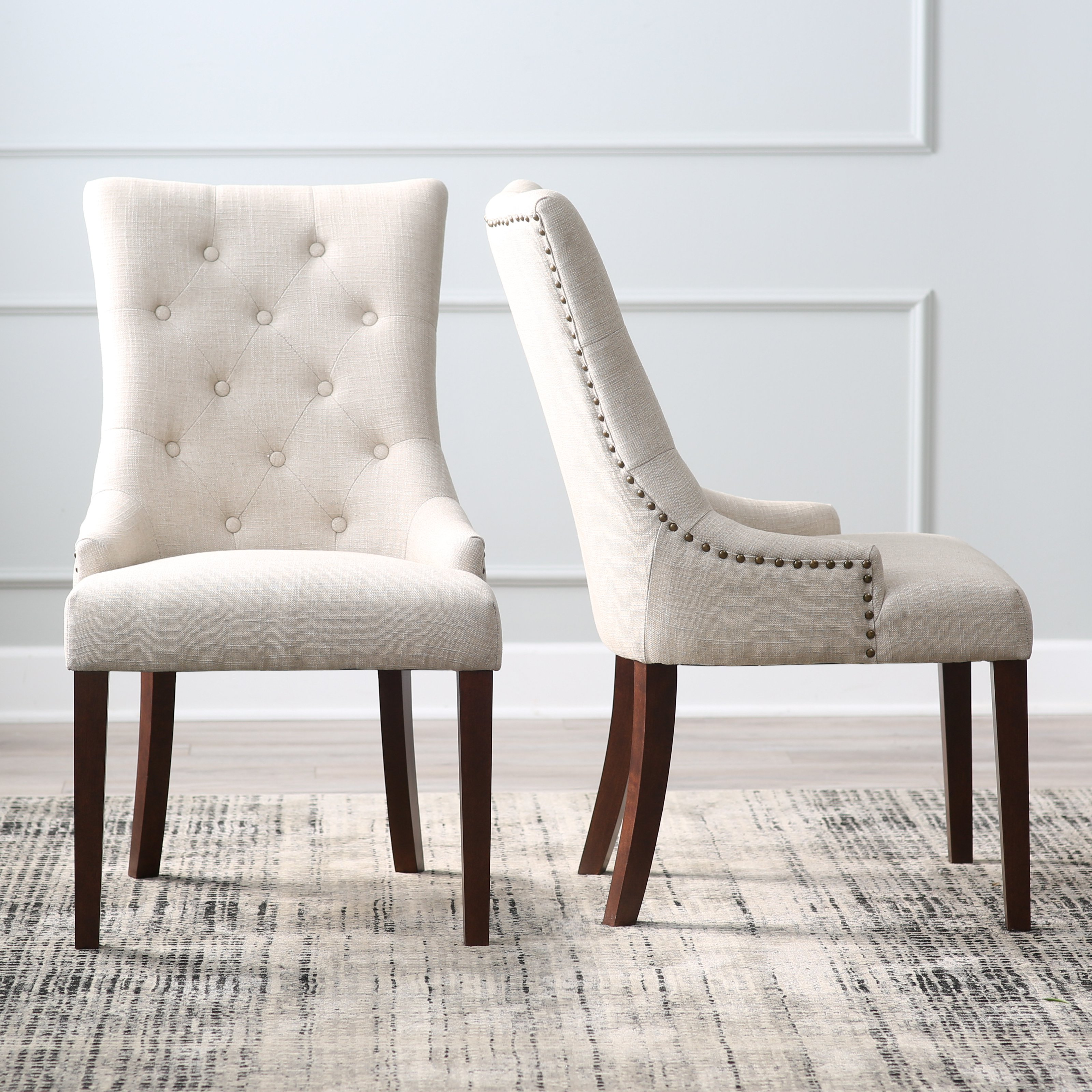 dining chair belham living thomas tufted tweed dining chairs - set of 2 | hayneedle MEZYYWT