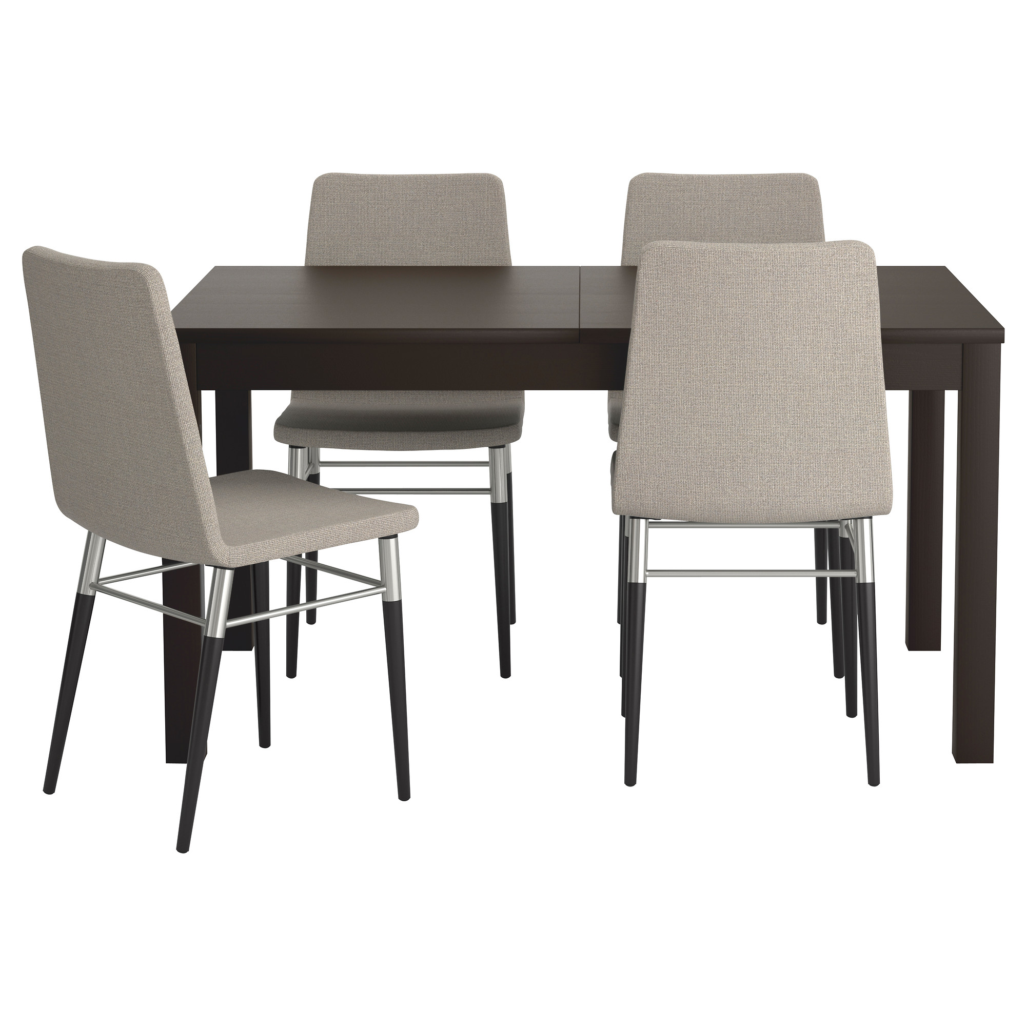 dining table and chairs bjursta / preben table and 4 chairs, brown-black, tenö light gray length XQNIXBU