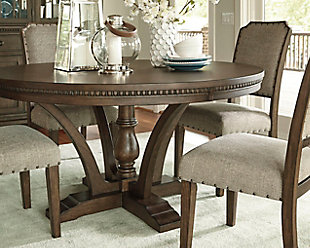 dining tables four sweeping braces adorn this dark brown pedestal table HGOQOXX