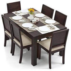 dinning table arabia - oribi 6 seater dining table set (mahogany finish, wheat brown) IELGLXE