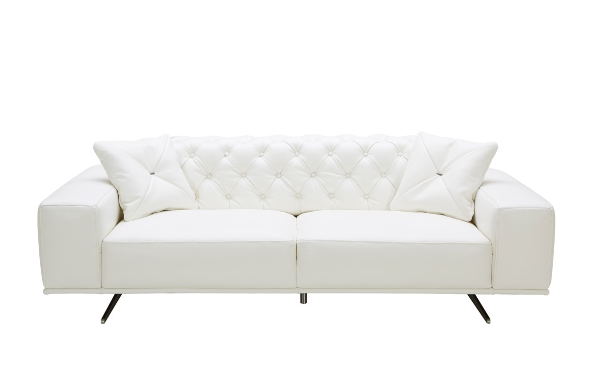 divani casa bartlett modern white leather sofa JYFSUFY