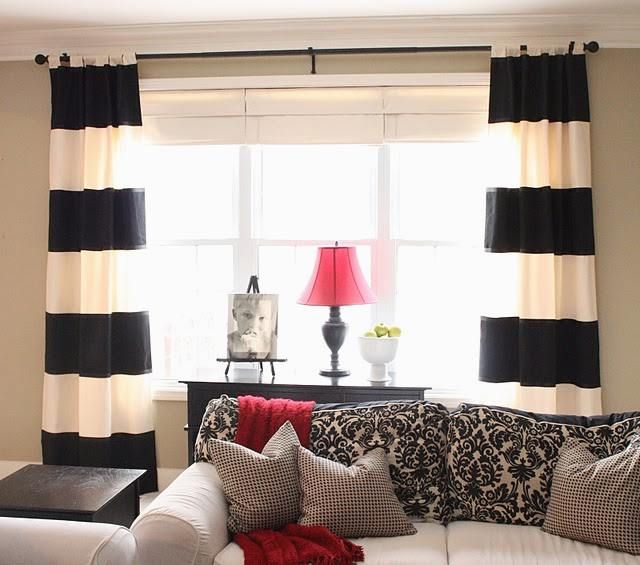 diy black and white striped curtains RPXTSKW