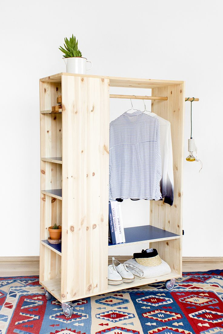 diy wardrobe clothing rack with bookcase. adds spots for tiny things. might need more LAOISWY