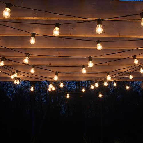 drape patio lights from pergolas #summer #diy GRQCVPK