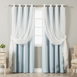 drapes and curtains 4-piece sheer blackout grommet top curtain panels SHIBUGW