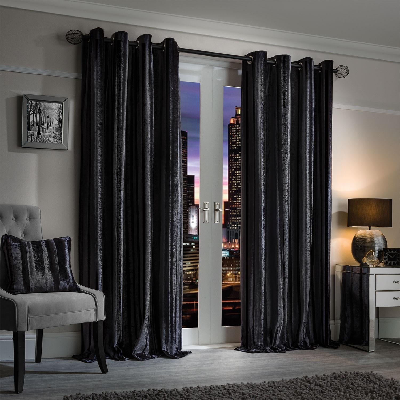 elegance charm charcoal luxury striped velvet curtains (pair) ZSQNOSI